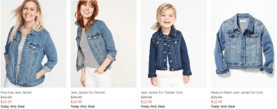 Old Navy : Denim jackets - women for $15 and girls for $12 !!