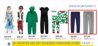 Carter's : 50-60% off Christmas + Halloween stuff + cozy fleece leggings/joggers (STOCK UP!!!) W/Free Ship!