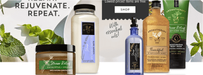 END'S TONIGHT : Buy 2, Get 2 FREE Bath & Body Works Aromatherapy Products + Extra 20% Off!!