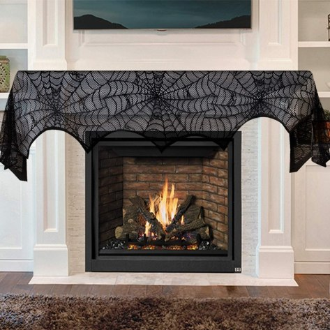 Black Lace Spider Web Fireplace Mantel Scarf for $3.99 w/code
