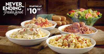 Olive Garden Unlimited Pasta, Breadsticks and Salad or Soup for ONLY $10.99 (You can take leftover to home :)