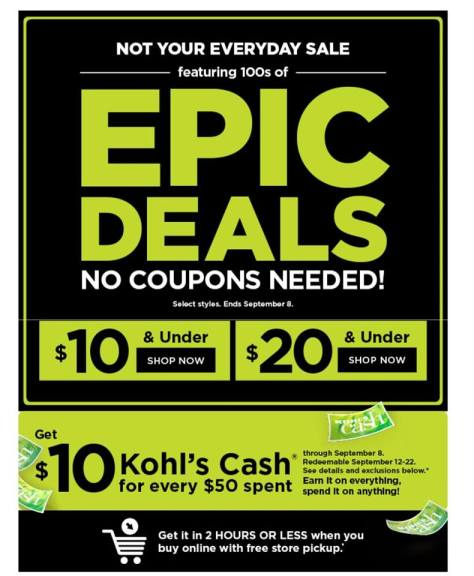 Kohl's Epic Deals SALE going on right now 🏃🏃🏃