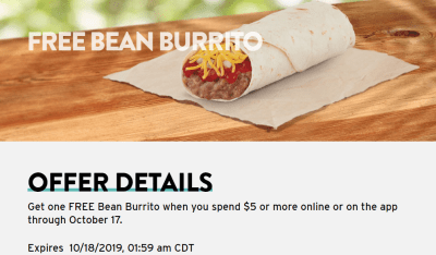 Taco Bell: FREE Bean Burrito w/ Any $5 Purchase
