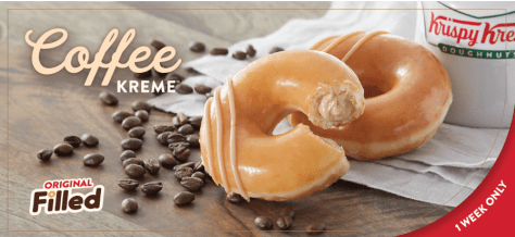 Krispy Kreme Is Giving Away Free Coffee and Donuts on National Coffee Day. Krispy Kreme is celebrating National Coffee Day with a doughnut and offer you won't find anywhere else.  For one week only, you can have your coffee and eat it too with our newest creation:  the Original Filled, Coffee Kreme Doughnut.  To top it off, you can get a free cup of coffee AND a free Original Glazed Doughnut on National Coffee Day, Sunday 9/29 at participating shops.  Because Krispy Kreme believes National Coffee Day is incomplete without doughnuts.