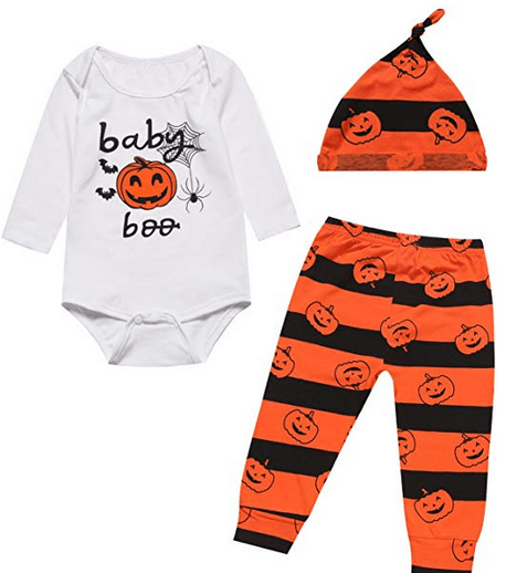 Pumpkin Halloween Costume Bodysuit 3PCS Outfit Set Baby Boy Girl Romper for $6.71 w/code