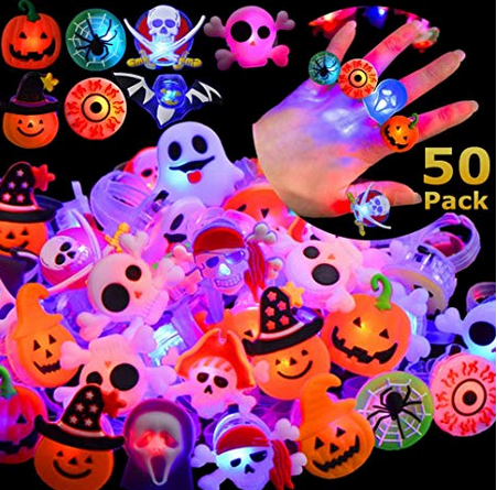 50 Pack Halloween LED Ring Luminous Flash Finger Ring Toys for just $3.20 w/code