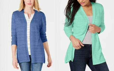 Through tomorrow September 22nd, visit Macy's where you can score Up to 72% Off Karen Scott Cardigans, with prices starting at ONLY $13.99 (regularly $49.50). They are offering these cardigans on sale and you can use the promo code VIP to get an additional 30% off through tomorrow September 22nd. Shipping is Free on orders over $75, but you can opt for Free Store Pickup.  Karen Scott Pointelle-Knit Cardigan $19.99 (Reg $49.50) Use promo code VIP (30% off, x9/22) ONLY $13.99 (Reg $49.50)    Karen Scott Cotton Studded Open-Front Cardigan $21.90 (Reg $36.50) Use promo code VIP (30% off, x9/22) ONLY $15.33 (Reg $36.50)    Karen Scott Cotton Cozy Cardigan $21.90 (Reg $36.50) Use promo code VIP (30% off, x9/22) ONLY $15.33 (Reg $36.50)