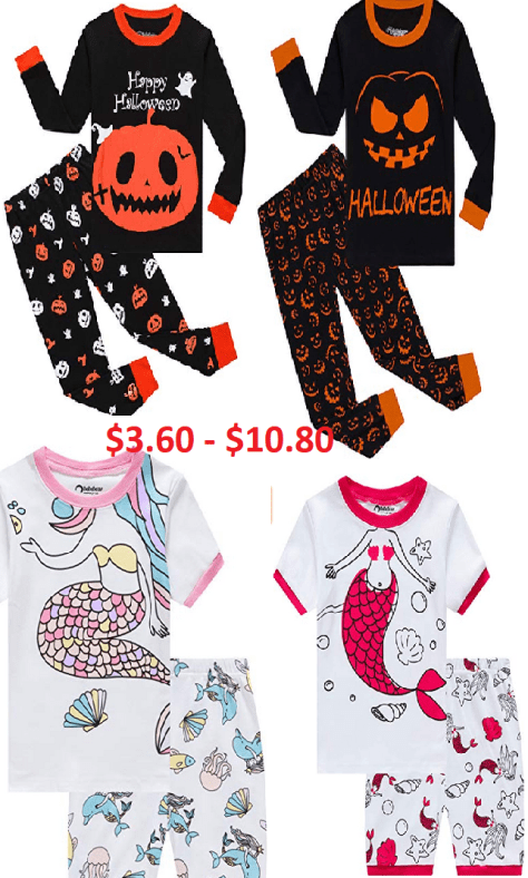 Little Boys & Girls Pajamas  100% Cotton Sleepwear from $3.60 - $10.80 w/code