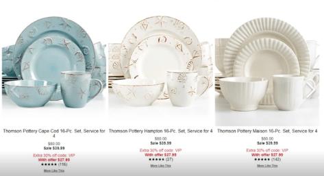 16-Pc. Dinnerware Set starts from $34.99 (reg: $72) w/code