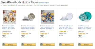 Amazon : **40% Off** 12 Piece Dinner Dishes Set W/Code (As of 10/23/2019 5.30 AM CDT)