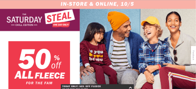Old Navy : 50% off All Fleece Hoodies, Sweatshirts, and Sweatpants!!