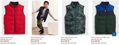 Gap Factory : Buy-1-get-1-FREE Puffer Vests !