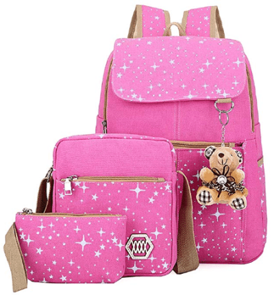 Amazon : 3 Pieces Canvas School Backpack Set Just $15.99 W/Code (Reg : $26.65) (As of 10/10/2019 10.57 AM CDT)