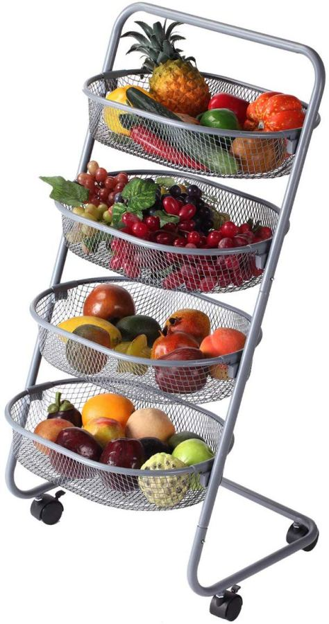 Amazon: 4 Tier Rolling Basket, Mesh Wire Multi-function Storage Cart with Wheels $24.74 w/code & coupon