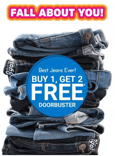 OshKosh B'Gosh: Buy 1 Get 2 FREE Kids Jeans