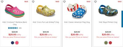 Crocs: $20, $25, $30 Sale!