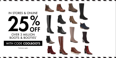D.S.W : 25% off all Boots and Booties!