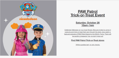 FREE Paw Patrol Trick or Treat Event at Target (October 26th Only) – Get Ready!