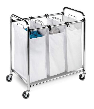 Amazon : Heavy-Duty Triple Laundry Sorter, Chrome/White Just $27.99 (Reg : $50.79) (As of 10/12/2019 9.42 PM CDT)