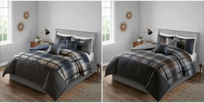 Walmart : Plaid Printed Comforter Bedding Set, Grey, King Just $20!