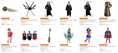 Amazon : SAVE UP TO 69% OFF ON KIDS HALLOWEEN COSTUMES Starting as low as $4.05 (As of 10/23/2019 10.10 AM CDT)