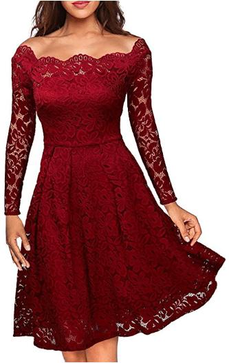 Amazon : Women's Long Sleeve Lace Off-Shoulder Boat Neck Formal Swing Dress Just $9.60 W/Code (Reg : $23.99) (As of 10/22/2019 9.36 PM CDT)