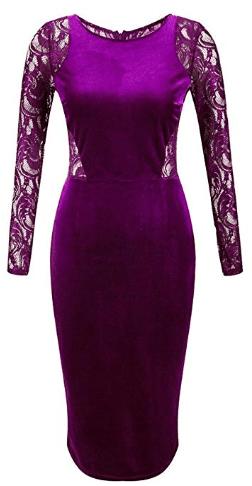 Amazon : Women's Long Sleeve Velvet Lace Midi Wrap Dress Just $16.99 W/Lightening Deal (Reg : $19.99) (As of 10/23/2019 8.55 AM CDT)