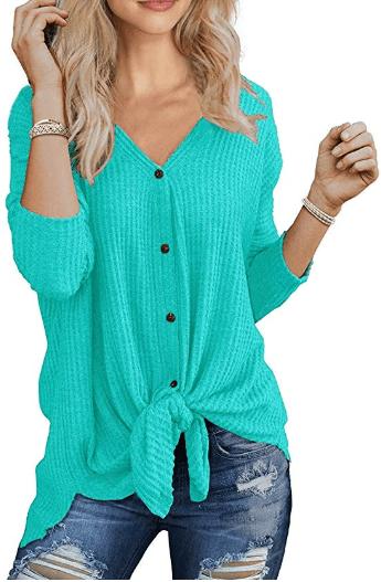 Amazon : Women's Waffle Knit Tunic Blouse Tie Knot Henley Tops Just $15.29 W/Lightening Deal (Reg : $18.99) (As of 10/12/2019 9.39 PM CDT)