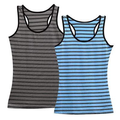Women's Workout Long Tank Tops Fit Sleeveless Camisole Strappy Vest Stripe Blouse Sport for $7.49 w/code