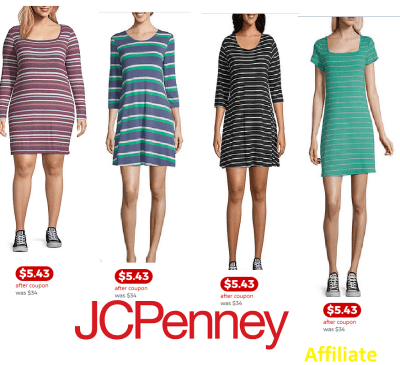 JCPenny : Arizona Long Sleeve Striped Bodycon Dress-Juniors for $5.43 after coupon