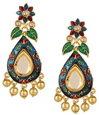 Amazon : 14K Gold Plated Crystal Kundan Pearl Leaf Floral Chandelier Dangle Earrings Just $15.99 (As of 11/13/2019 10.41 AM CST)
