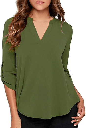Amazon : Women's Cotton Tops 3/4 Roll Up Sleeve V Neck Solid Blouse Tunic Just $8.49 W/Code (Reg : $16.99) (As of 11/11/2019 10.50 AM CST)