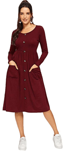 Amazon : Women's Button Front Scoop Neck Long Sleeve Tee Dress with Pocket Just $6.90 - $7.20 W/Code (Reg : $22.99 - $23.99) (As of 11/11/2019 7.31 PM CST)