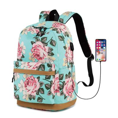 Amazon : Floral Travel Backpack for Girls with USB Charging(Black) Just $16.49 W/Code (Reg : $32.99) (As of 11/06/2019 4.20 PM CST)