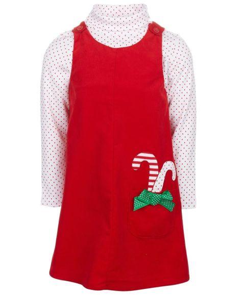 Good Lad Toddler Girls 2-Pc. Holiday Corduroy Jumper & Dot-Print Turtleneck for $17.60 (Reg $44.00)