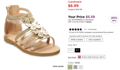 Kohl's : Jumping Beans Butterflies Toddler Girls' Gladiator Sandals Just $5.59 (Reg : $34.99)