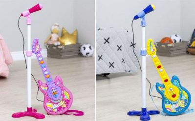 Kids 19-Inch Musical Guitar and Mic Stand ONLY $19.99 (Reg $36) + FREE Shipping