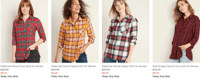 Old Navy : TODAY ONLY! $8 & $9 FLANNEL SHIRTS!