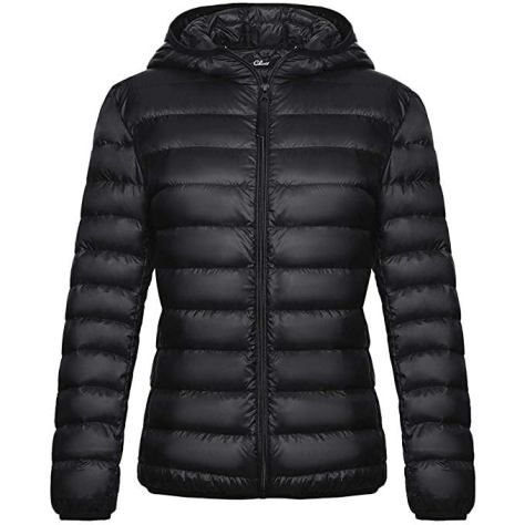 Women's Down Jacket with Hood Packable Ultra Lightweight Outwear Short Puffer Coat for $29.99 w/code