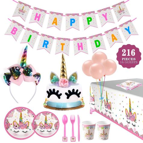 Terrific Deals Finders 216 Pcs Birthday Party Supplies Set For Girls For Funny Birthday Cards Online Alyptdamsfinfo