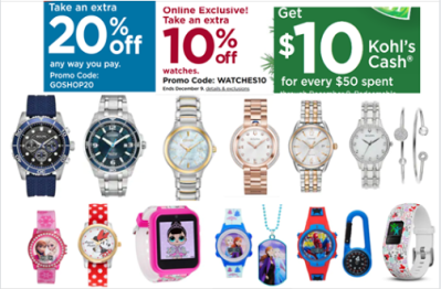 Kohl's : Watches are on sale up to 55% + DOUBLE STACK codes below for huge savings!