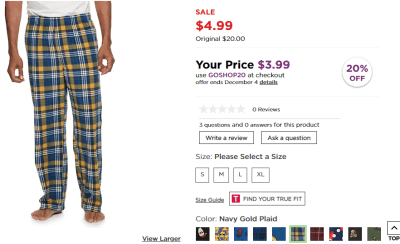 Kohl's : Men's Croft & Barrow® Festive Microfleece Sleep Pants Just $3.99 W/Code (Reg : $20)