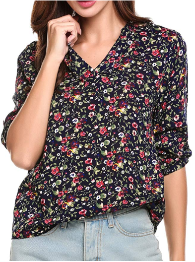 Amazon : Women's Floral Printed V Neck High Low Hem Blouse Top Just $5.99 W/Code (Reg : $19.99) (As of 1/16/2020 11.09 AM CST)