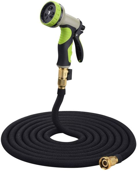 50ft Expanding Garden Hose with Inner Latex Core and Solid Brass Connector for $12.99 w/code