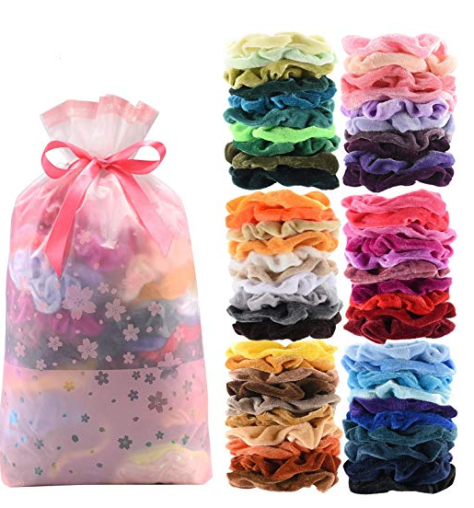 60 Pcs Premium Velvet Hair Scrunchies Hair Bands for Women or Girls Hair Accessories with Gift Bag for $6.55 (reg: $7.99)