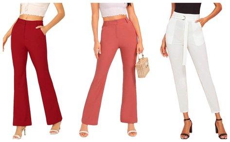 Women's High Waisted Plain Comfort Straight Leg Zipper Pants for $6.99 w/code