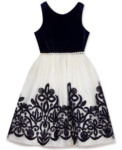 MACY'S: Rare Editions Little Girls Embellished Velvet Dress, JUST $14.76 (Reg $74.00)
