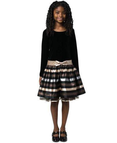 MACY'S: Bonnie Jean Big Girls Velvet Striped Dress, JUST $13.56 (Reg $68.00)