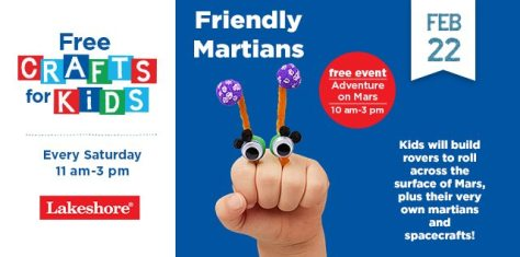 Friendly Martians Crafts at Lakeshore Learning Saturday