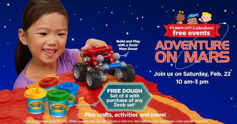 Adventure on Mars Event at Lakeshore Learning on Saturday